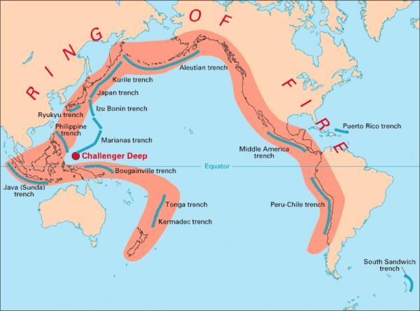 Cinturón de Fuego del Pacífico: qué es y mapa - Mapa del cinturón de Fuego del Pacífico y lista de países