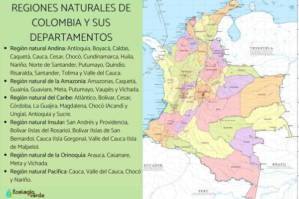 Regiones naturales de Colombia - Cuáles son las regiones naturales de Colombia y sus departamentos