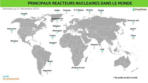 Combien y a-t-il de centrales nucléaires dans le monde ? - Nombre de centrales nucléaires dans le monde